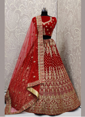Red Color Designer A Line Lehenga Choli