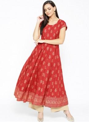 Red Cotton Designer Kurti