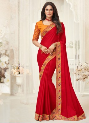 Red Embroidered Ceremonial Designer Saree