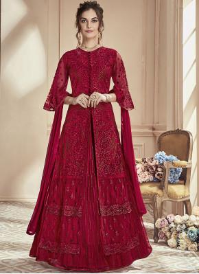 Red Embroidered Net Anarkali Salwar Kameez