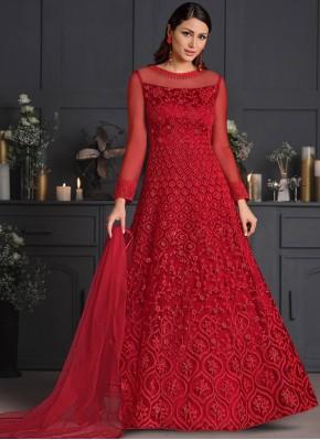 Red Embroidered Net Designer Salwar Suit