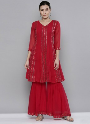 Red Embroidered Salwar Suit