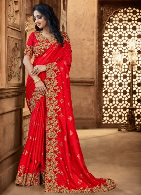 Red Embroidered Satin Classic Designer Saree