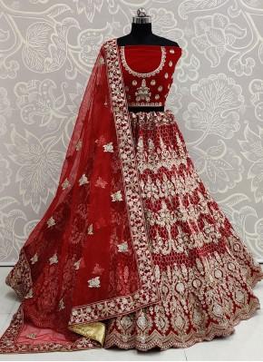 Red Embroidered Wedding Bollywood Lehenga Choli