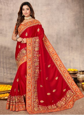 Red Engagement Classic Designer Saree