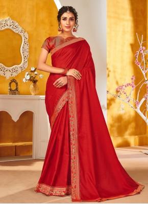 Red Engagement Vichitra Silk Traditional Saree