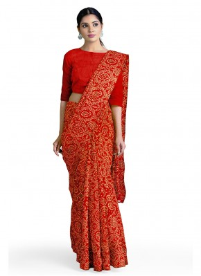 Red Faux Georgette Abstract Print Casual Saree