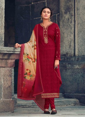 Red Faux Georgette Designer Straight Suit