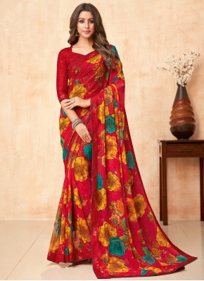 Red Faux Georgette Party Classic Saree