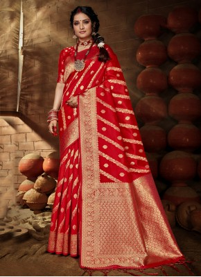 Red Festival Banarasi Silk Traditional Saree