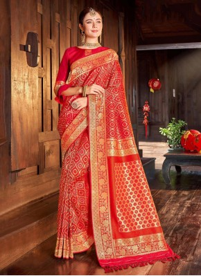 Red Festival Classic Saree