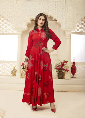 Red Festival Rayon Designer Gown