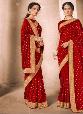 Red Festival Silk Traditional Designer Saree