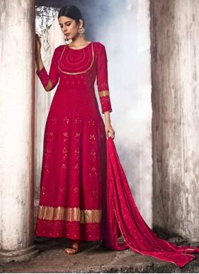 Red Georgette Wedding Anarkali Suit
