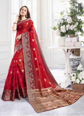 Red Handloom Cotton Mehndi Contemporary Saree