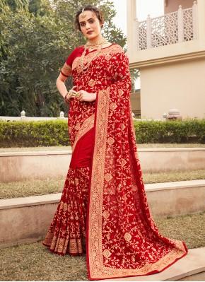 Red Mehndi Vichitra Silk Designer Saree