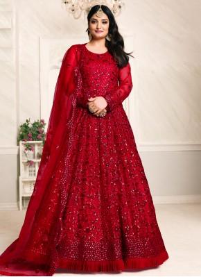 Red Net Floor Length Anarkali Suit