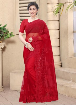 Red Net Party Classic Saree