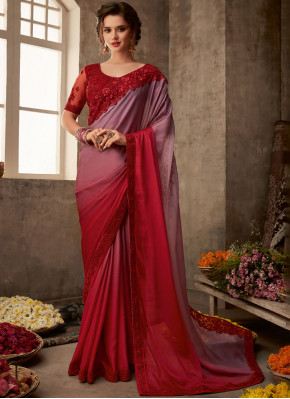 Red Patch Border Festival Traditional Saree