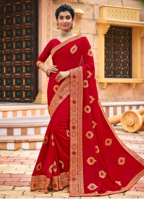 Red Patch Border Traditional Designer Saree