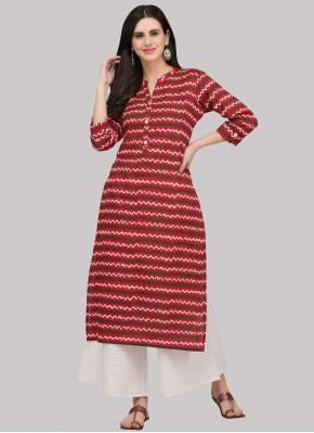 Red Print Cotton Party Wear Kurti