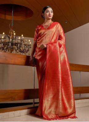 Red Raw Silk Traditional Designer Saree