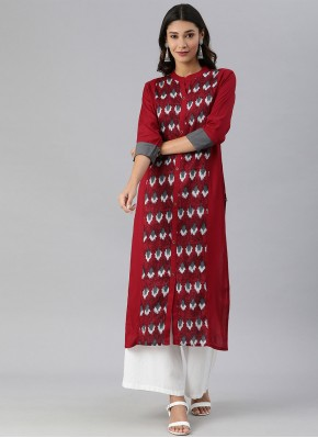 Red Rayon Festival Party Wear Kurti