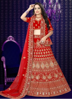 Red Resham Wedding Designer Lehenga Choli