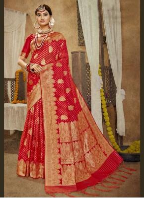 Red Sangeet Banarasi Silk Designer Traditional Saree