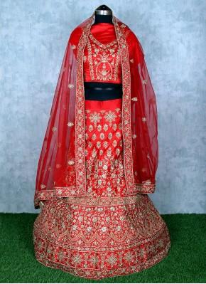 Red Satin Sangeet Lehenga Choli