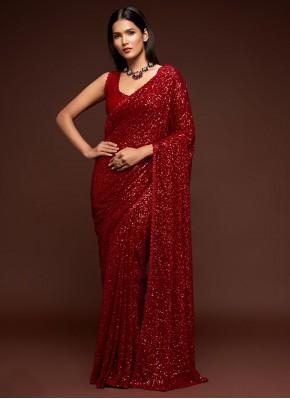 Red Sequins Festival Classic Designer Saree