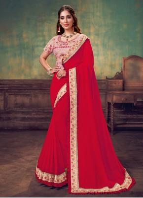Red Sequins Silk Classic Saree