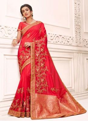 Red Silk Ceremonial Designer Saree