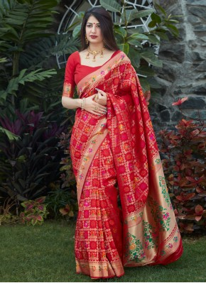 Red Silk Designer Traditional Saree