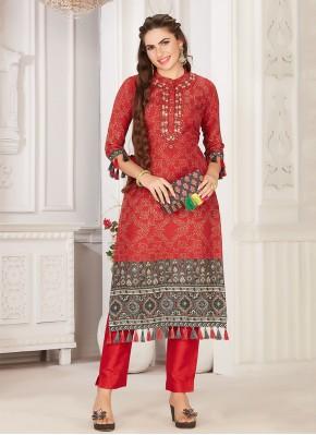 Red Silk Party Wear Kurti