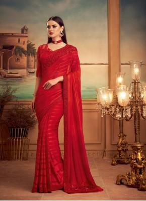 Red Silk Patch Border Designer Saree