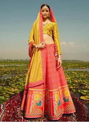 Red Silk Sangeet Readymade Lehenga Choli