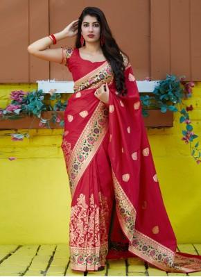 Red Silk Weaving Contemporary Saree