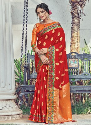Red Silk Woven Designer Traditional Saree