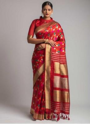 Red Tussar Silk Weaving Designer Traditional Saree
