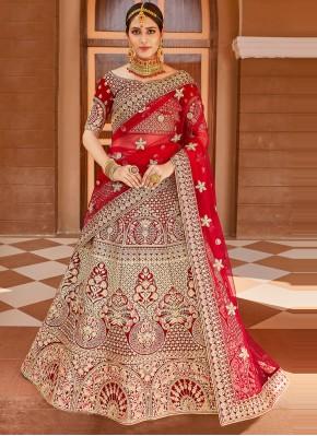 Red Velvet Wedding Designer Lehenga Choli