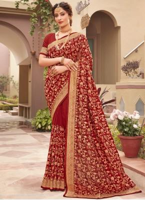 Red Vichitra Silk Patch Border Designer Saree