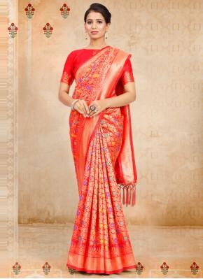 Red Weaving Festival Designer Traditional Saree