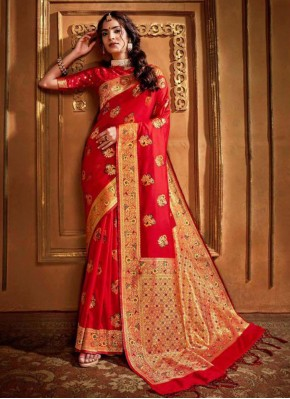 Red Weaving Wedding Classic Saree