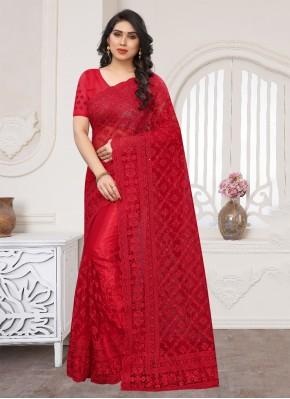Red Wedding Net Designer Saree