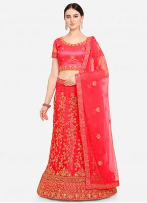 Red Wedding Net Lehenga Choli
