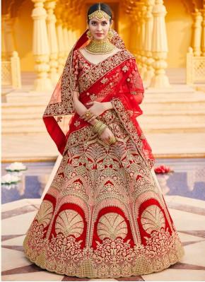 Red Wedding Velvet Bollywood Lehenga Choli