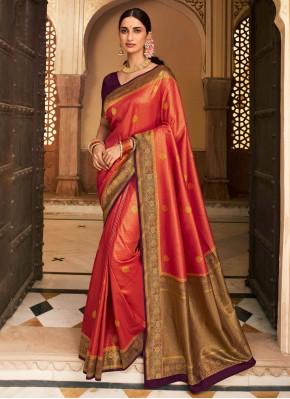 Red Woven Ceremonial Designer Saree