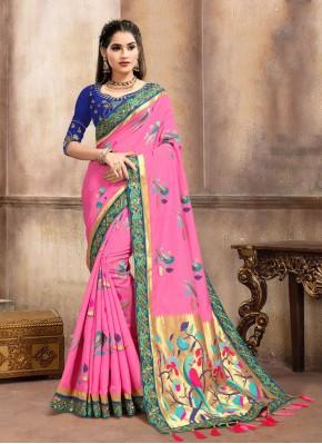 Refreshing Banarasi Silk Weaving Pink Traditional Designer Saree