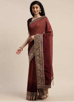 Refreshing Brown Embroidered Designer Saree
